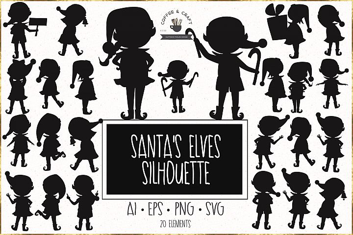 Santas elves silhouette
