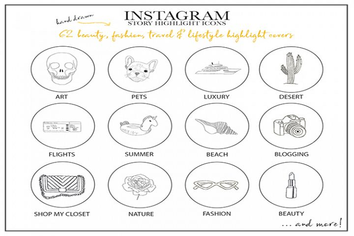 Instagram Story Highlights Icons Set of 62 Hand Drawn