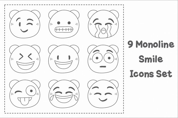 9 Monoline Smile Icons Set