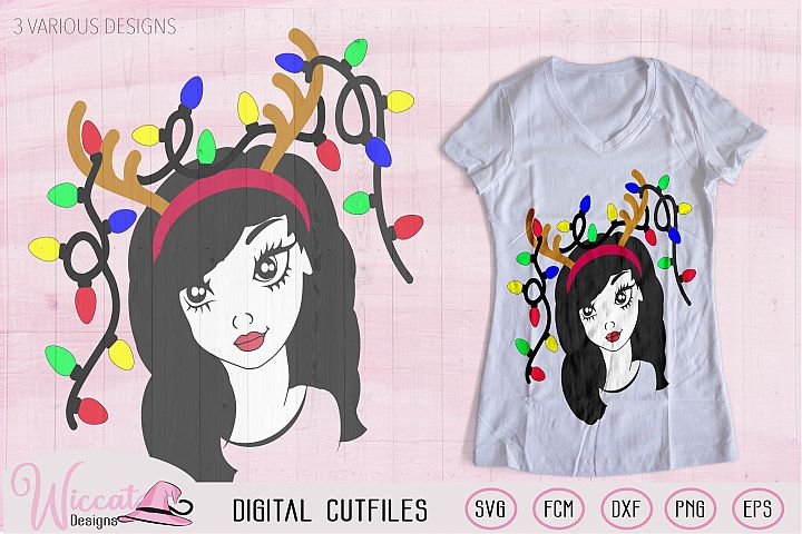Christmas lights svg, Girl face svg, Line art girl, antlers