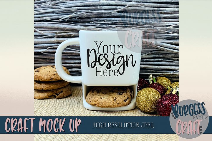 Christmas cookie mug Craft mock up |High Res JPEG