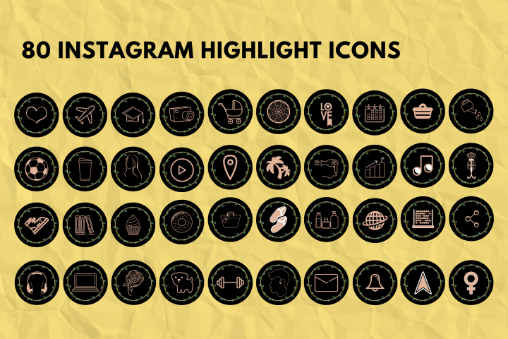 Instagram Story Highlights Cover- Black,Floral,Botany