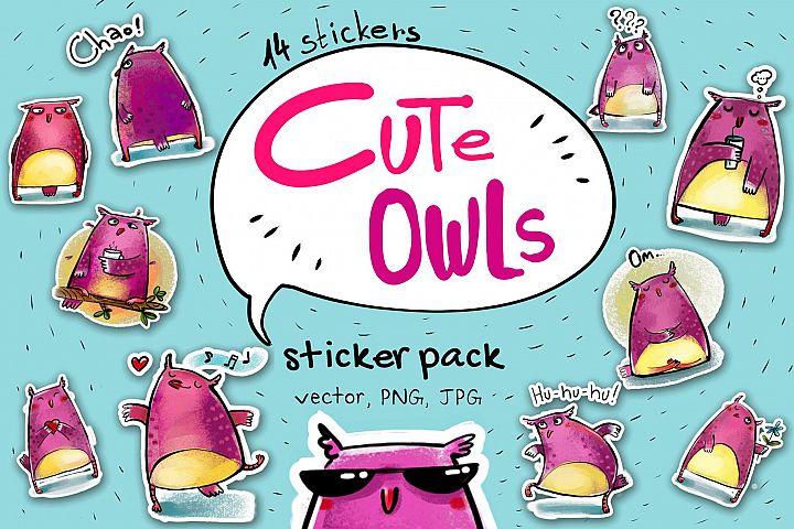 Cute Owls - sticker pack