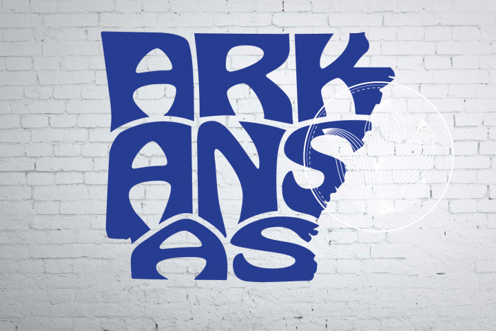 Digital Arkansas Word Art in map shape, Arkansas jpg, png