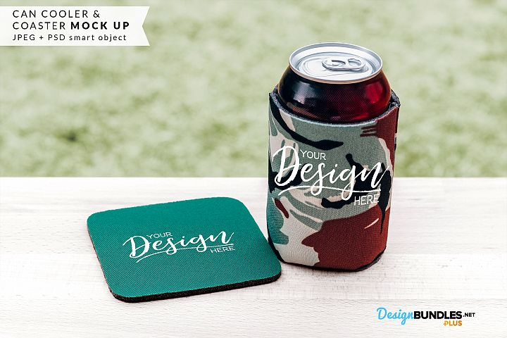 Coaster & Can Cooler Mock up