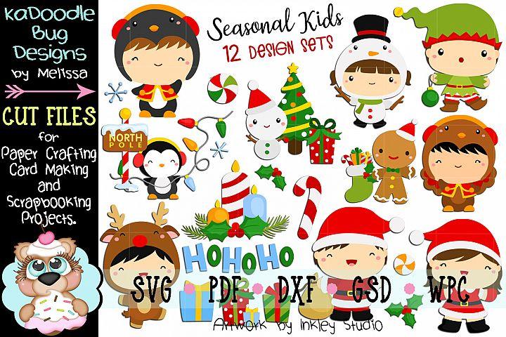 Seasonal Kids Bundle - 12 Cut Files SVG Winter Christmas