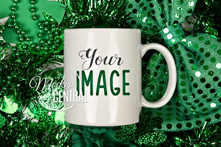 St Patricks Day Irish White Coffee Glass Cup Mockup, JPG