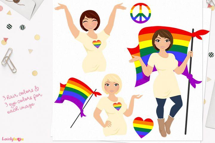 Pride woman character clip art L471 Olivia