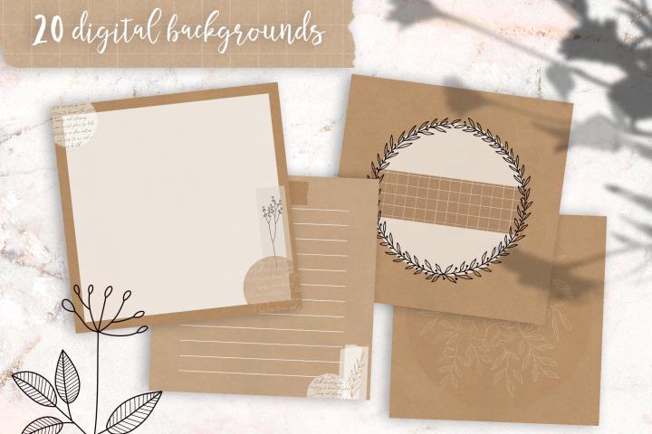 20 Kraft Digital Backgrounds | perfect for Lettering