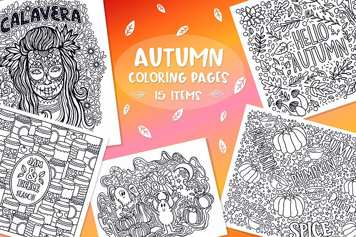 Autumn Coloring Pages- 15 vector items