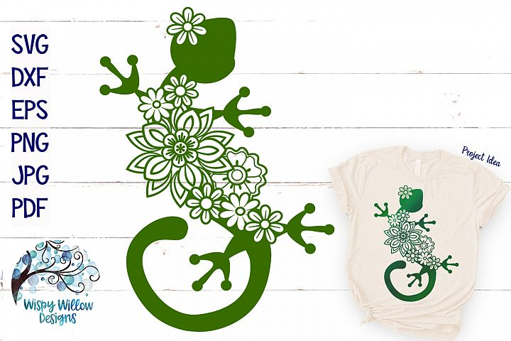 Floral Gecko Lizard SVG | Animal SVG Cut File