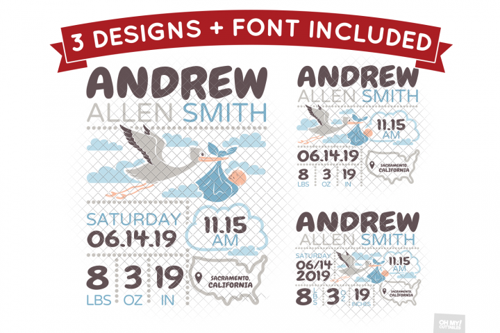 Stork and Baby Birth Stats SVG Announcement Template DXF EPS