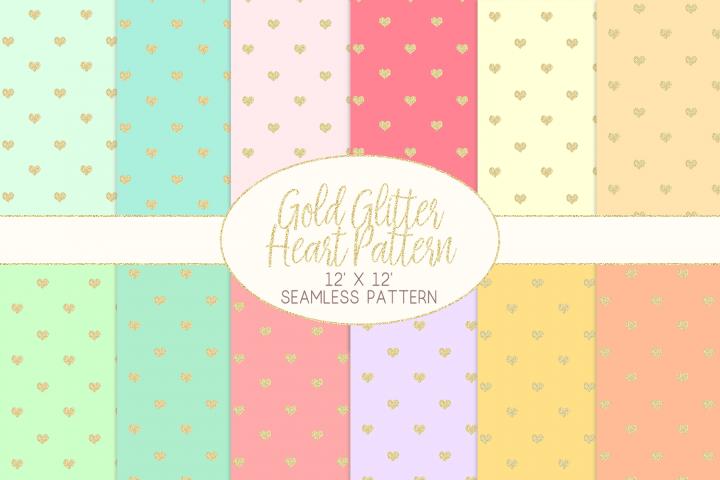 Gold Glitter Heart Pattern Digital Papers
