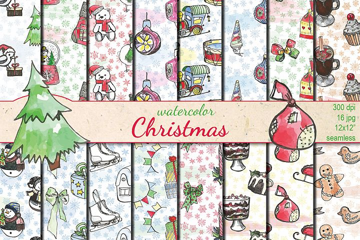 Christmas watercolor seamless patterns
