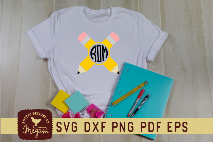 Back To School Pencil Monogram SVG
