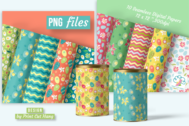 Easter Spring Seamless Scrapbooking Papers Set 10 PNG file