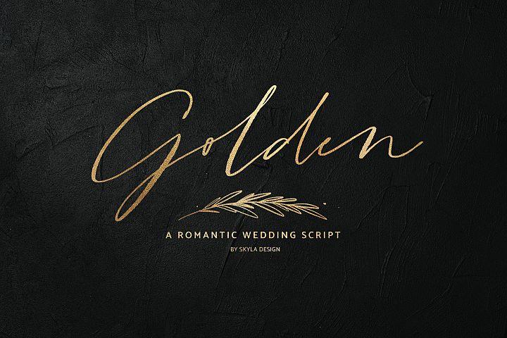 Golden, a romantic wedding script font
