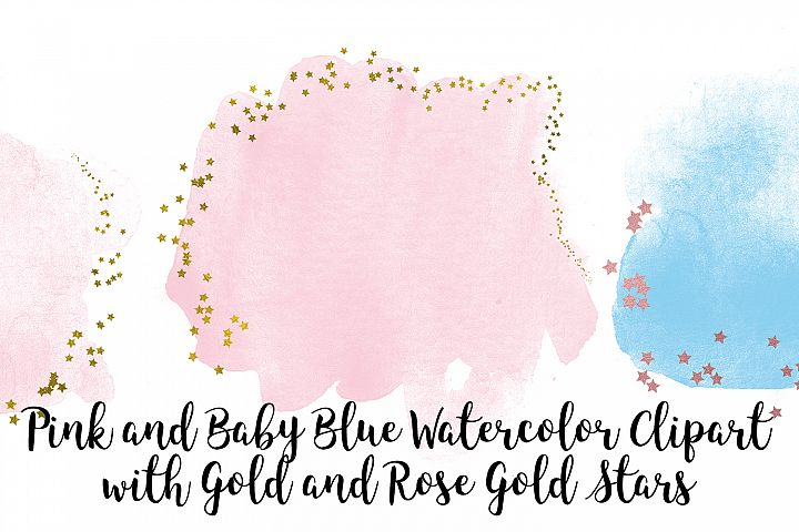 Pink and Baby Blue Watercolor Clip Art, Gold and Rose Gold
