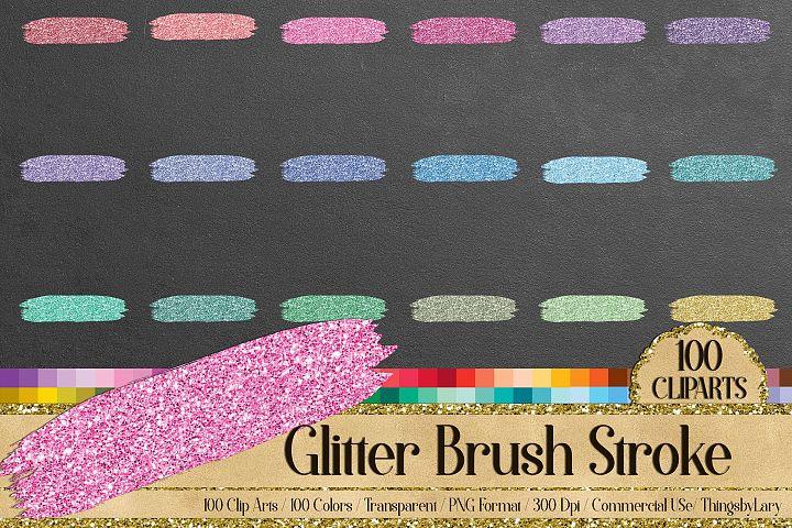 100 Glitter Brush Stroke Gold Silver Glitter Clip Arts PNG