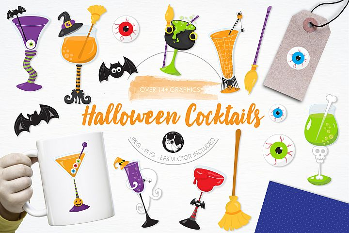 Halloween Cocktails graphics and illustrations - Free Design of The Week