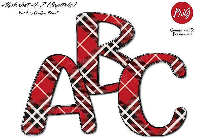 Red Plaid Alphabet clip art sublimation, fashion pattern