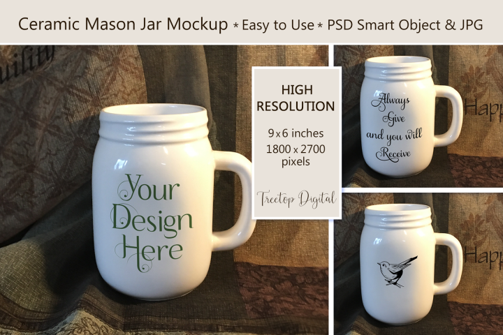 Mason Jar Mug Mockup, PSD Smart Object & JPG Mock-Up