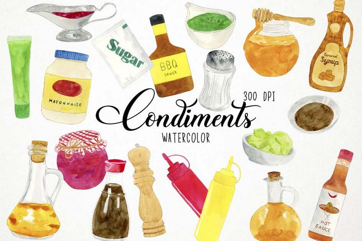 Watercolor Condiments Clipart, Condiments Clip Art, Sauces