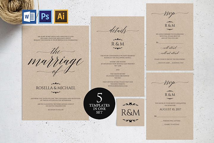 Wedding invitation set portrait, TOS_13