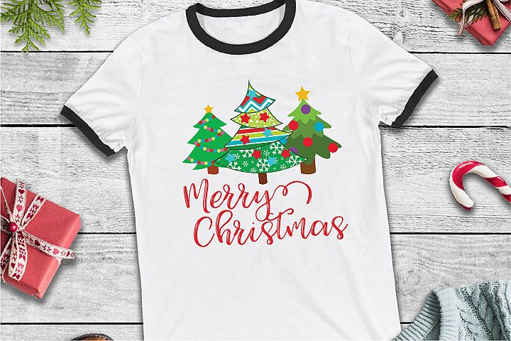 Merry Christmas SVG, Patterned Tree, Christmas SVG