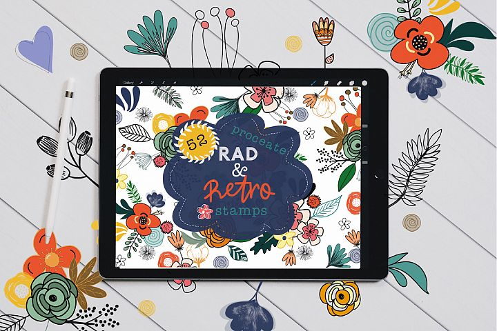 Rad and Retro Floral Stamp Brushes