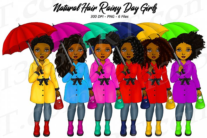 Rainy Day Black Girls Clipart, African, Natural Hair Women