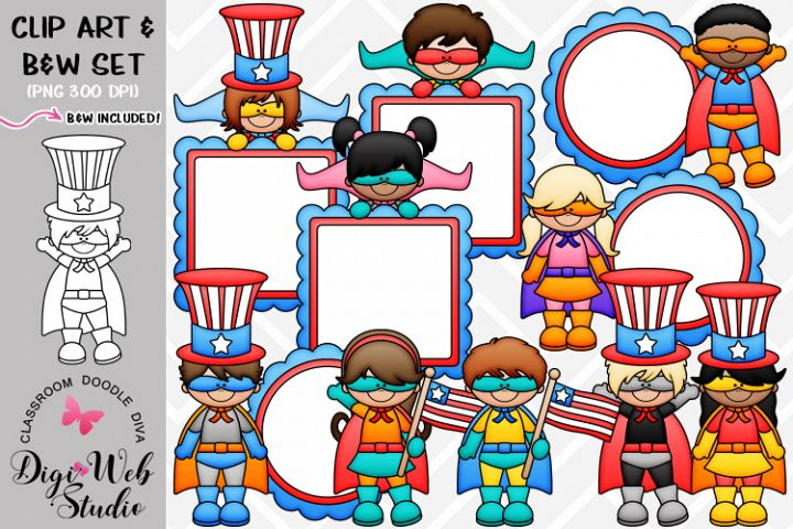 Clip Art / Illustrations - Superhero Patriotic Kids
