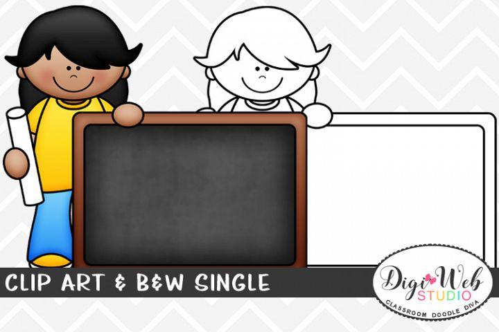 Clip Art & B&W Single - Girl w/ Chalk & Blank Chalkboard