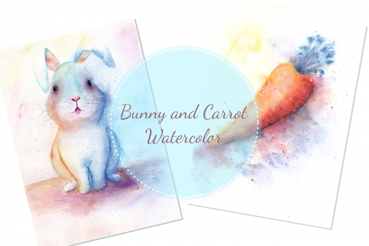 A Bunny and a Carrot Watercolor Illustration Art