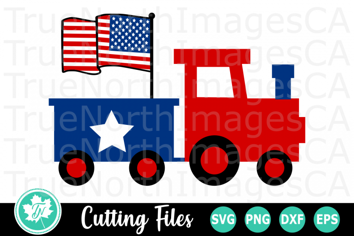 Train with Flag - American SVG Cut Files