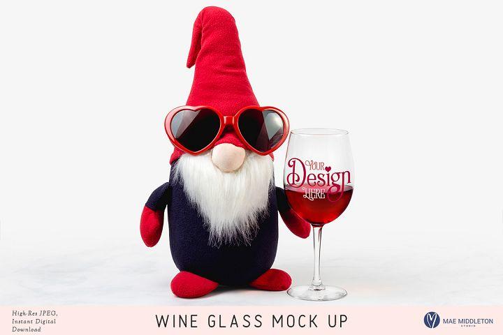 Wine Glass & Gnome Mock up, valentine styled photo