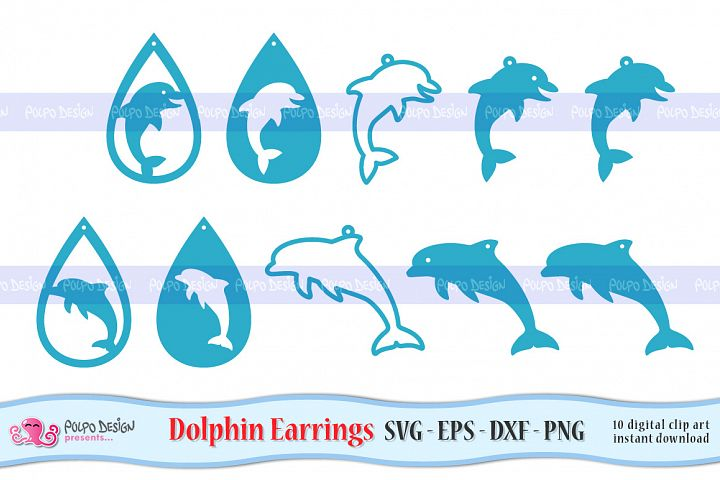 Dolphin Earrings SVG, Eps, Dxf and Png. Vector files.