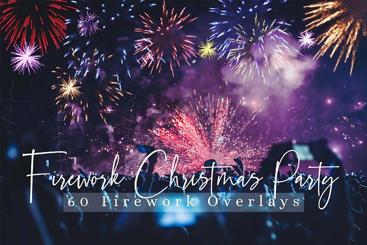 60 Firework Christmas Party Overlays