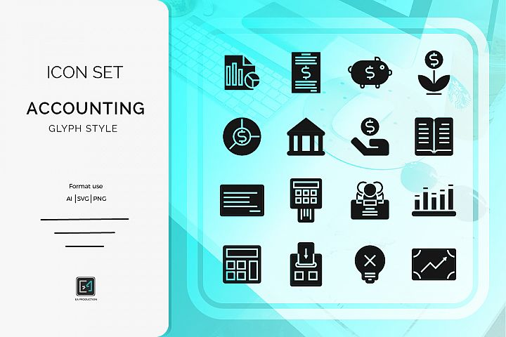 Icon set Accounting glyph style