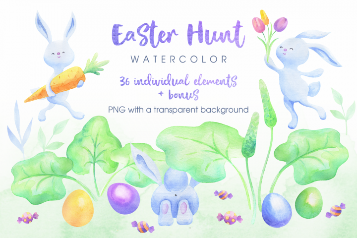 Easter hunt. Watercolor bunnies, flowers and eggs