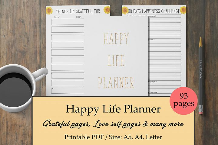 Happy Life Planner, Self Care Planner, Mental Health Journal