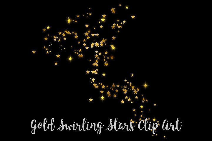Gold Swirling Stars Clip Art, Gold Foil Stars Overlays