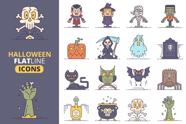 Halloween Flat Line Icons Vol.2