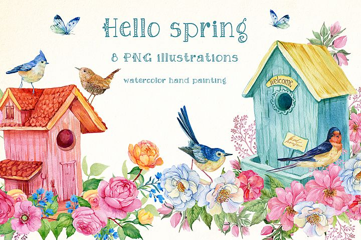 Hello spring watercolor illustration