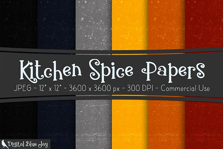 Digital Paper Textured Backgrounds - Kitchen Spice