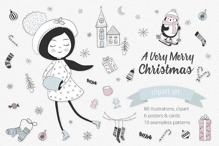A Very Merry Christmas Illustration Set