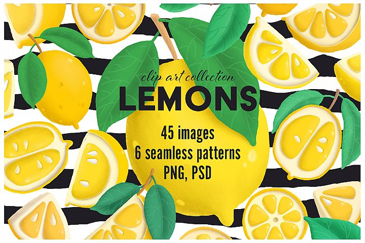Lemons clip art collection