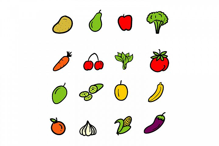 doodle style fruit and vegetable collection