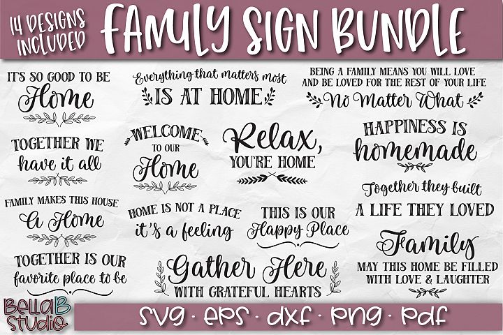 Wood Sign SVG Bundle, Family Bundle, Home SVG File