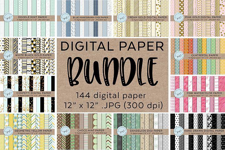 144 Digital Paper Bundle,